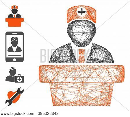 Vector Wire Frame Medical Official Lecture. Geometric Wire Frame 2d Network Made From Medical Offici