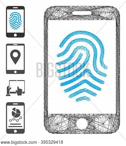 Vector Network Mobile Fingerprint Authorization. Geometric Hatched Carcass Flat Network Generated Wi