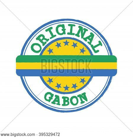 Vector Stamp Of Original Logo With Text Gabon And Tying In The Middle With Nation Flag. Grunge Rubbe