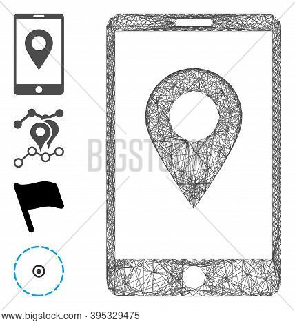 Vector Wire Frame Mobile Gps. Geometric Wire Frame Flat Network Based On Mobile Gps Icon, Designed W