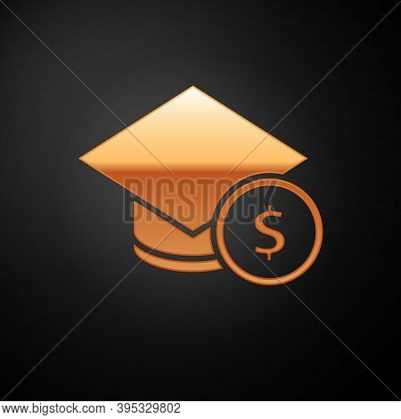 Gold Graduation Cap And Coin Icon Isolated On Black Background. Education And Money. Concept Of Scho