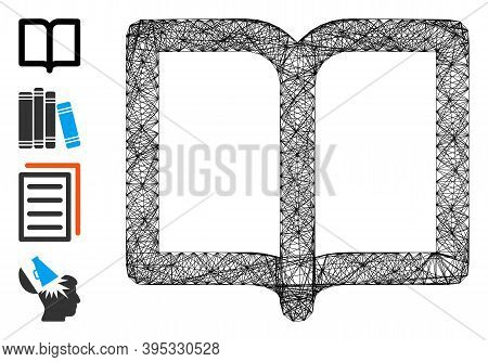 Vector Net Open Book. Geometric Hatched Frame Flat Net Generated With Open Book Icon, Designed With