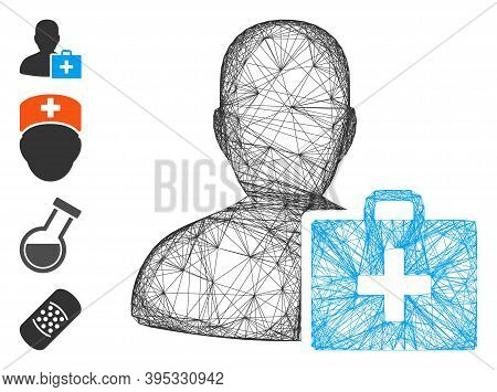 Vector Network Paramedic. Geometric Wire Frame 2d Network Generated With Paramedic Icon, Designed Wi
