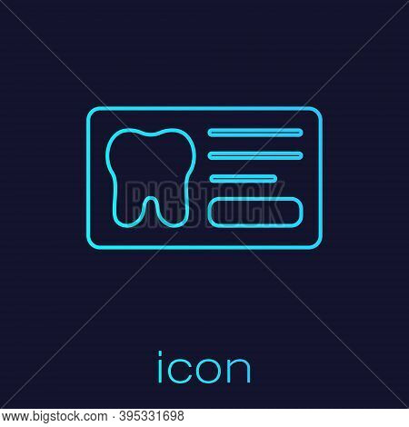 Turquoise Line Clipboard With Dental Card Or Patient Medical Records Icon Isolated On Blue Backgroun