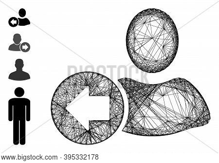 Vector Wire Frame Previous User. Geometric Wire Frame 2d Network Made From Previous User Icon, Desig