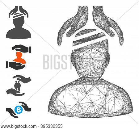 Vector Wire Frame Psychiatry Patient Cure Hands. Geometric Wire Frame Flat Net Made From Psychiatry