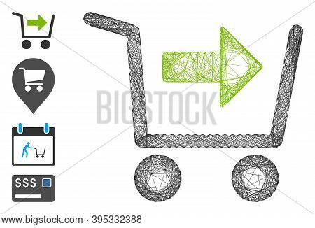 Vector Wire Frame Purchase Cart. Geometric Wire Frame 2d Net Generated With Purchase Cart Icon, Desi