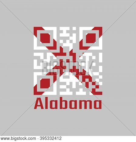 Qr Code Set The Color Of Alabama Flag, The States Of America,  Red St. Andrew's Saltire In A Field O