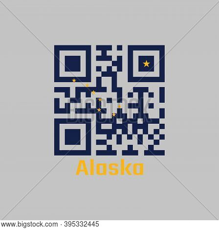 Qr Code Set The Color Of Alaska Flag. The States Of America. Eight Gold Stars, In The Shape Of