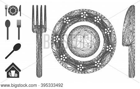 Vector Wire Frame Restaurant Tableware. Geometric Hatched Frame 2d Net Made From Restaurant Tablewar