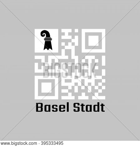 White Qr Code And Basel-stadt Flag On Top Corner. The Canton Of Switzerland With Text Basel Stadt.