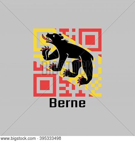 Qr Code Set The Color Of Bern Flag, The Canton Of Switzerland With Text Berne.