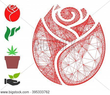 Vector Wire Frame Rose Button. Geometric Wire Frame Flat Network Generated With Rose Button Icon, De