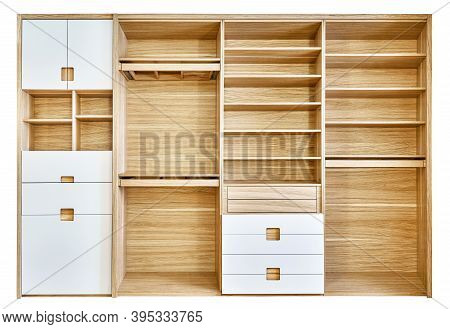 Modern Wardrobe With Empty Shelves Isolated On White Background. Modern Wooden Wardrobe With Flat Fi