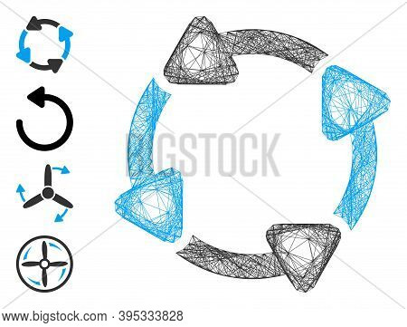 Vector Net Rotate Cw. Geometric Hatched Carcass 2d Net Generated With Rotate Cw Icon, Designed With