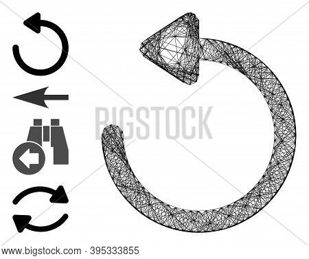 Vector Network Rotate Left. Geometric Hatched Carcass 2d Network Generated With Rotate Left Icon, De