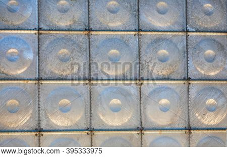 texture of galvanized steel from a water tank
