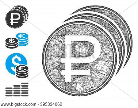 Vector Wire Frame Rouble Coins. Geometric Wire Frame 2d Net Made From Rouble Coins Icon, Designed Fr