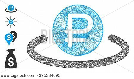 Vector Wire Frame Rouble Deposit. Geometric Wire Frame Flat Network Generated With Rouble Deposit Ic