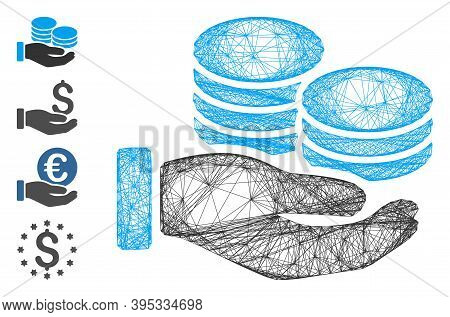 Vector Wire Frame Salary Hand. Geometric Wire Frame 2d Network Made From Salary Hand Icon, Designed
