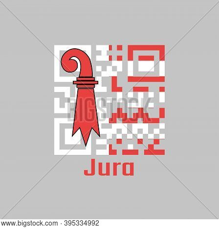 Qr Code Set The Color Of Jura Flag, The Canton Of Switzerland With Text Jura.
