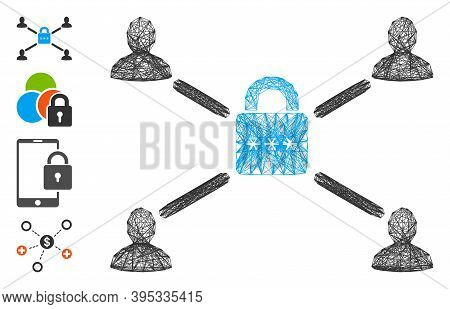 Vector Wire Frame Secured Lock Relations. Geometric Wire Frame Flat Network Made From Secured Lock R