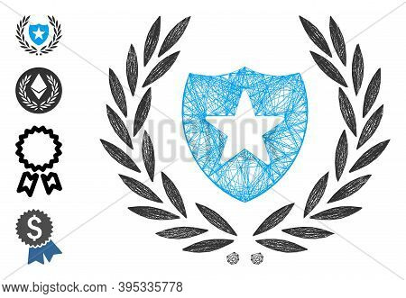 Vector Wire Frame Shield Laurel Wreath. Geometric Wire Frame 2d Network Generated With Shield Laurel