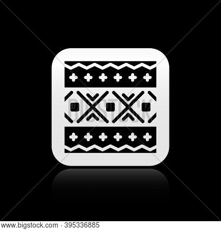 Black Ukrainian Ethnic Pattern For Embroidery Icon Isolated On Black Background. Traditional Folk Ar