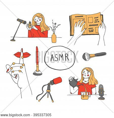 Woman Recording Asmr Sounds Near Microphone For Anxiety And Stress Reducing, Good Sleep. Autonomous