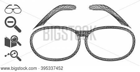 Vector Wire Frame Spectacles. Geometric Wire Frame Flat Net Generated With Spectacles Icon, Designed