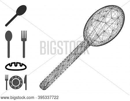 Vector Net Spoon. Geometric Linear Frame 2d Net Generated With Spoon Icon, Designed With Crossed Lin