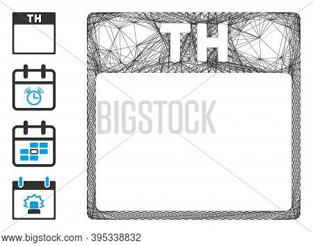 Vector Network Thursday Calendar Page. Geometric Hatched Frame 2d Net Generated With Thursday Calend
