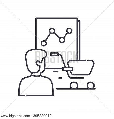 Consumer Behavior Analytics Icon, Linear Isolated Illustration, Thin Line Vector, Web Design Sign, O