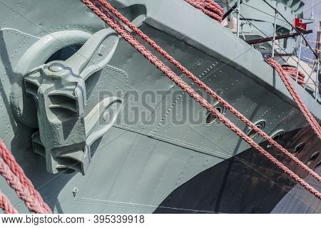 Side With Anchor And Mooring Ropes Of Orp Blyskawica (lightning),  Destroyer Which Served In The Pol