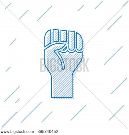 Blue Line Raised Hand With Clenched Fist Icon Isolated On White Background. Protester Raised Fist At