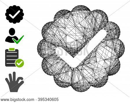 Vector Wire Frame Valid. Geometric Wire Frame Flat Net Made From Valid Icon, Designed With Intersect
