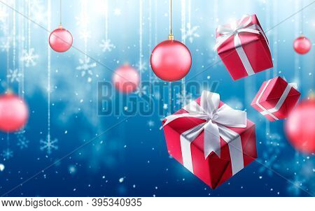 Christmas Gifts And Fallen Defocused Snowflakes On Blue Background