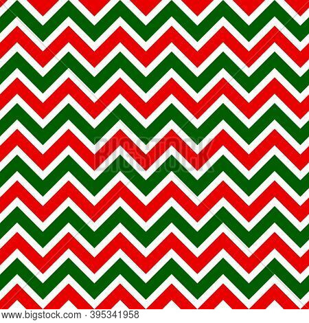 Seamless Pattern With Red And Green Zigzag Horizontal Stripes. Good Design For Christmas Scrapbookin
