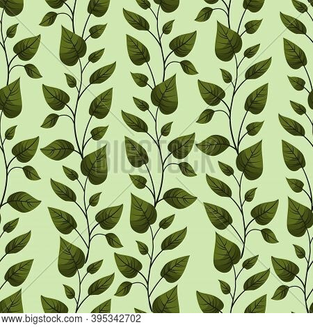 Vector Seamless Pattern With Vertical Green Foliate Twigs; For Greeting Cards, Invitations, Posters,