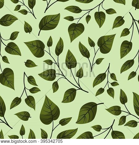 Vector Seamless Pattern With Green Foliate Twigs; For Greeting Cards, Invitations, Posters, Banners,