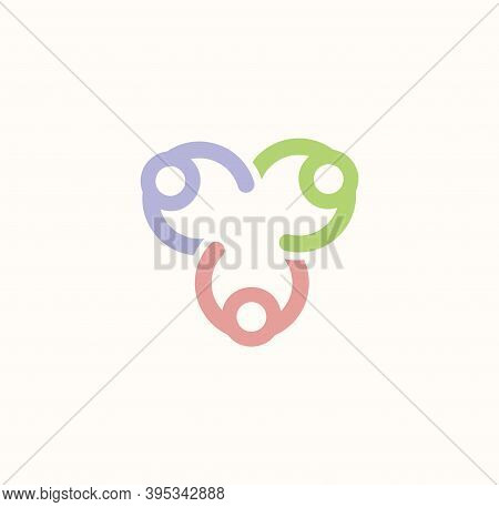 Group Of People Holding Hands Vector Logo, Cooperation, Collaboration And Cooperation Abstract Symbo
