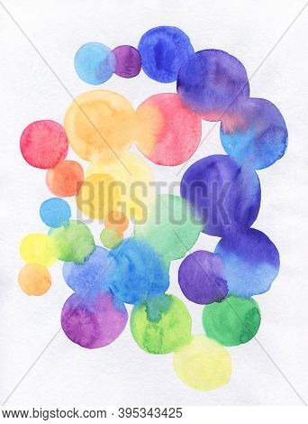Watercolor Rainbow Circles. Watercolor Abstract Background, Hand-painted Texture, Watercolor Stains.