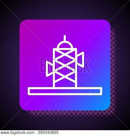 Blue Antenna Icon Isolated On Yellow Background. Radio Antenna Wireless. Technology And Network Sign