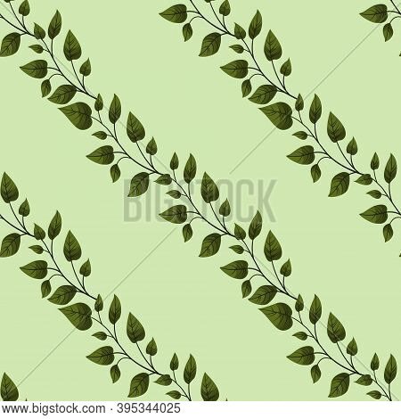 Vector Seamless Pattern With Diagonal Green Foliate Twigs; For Greeting Cards, Invitations, Posters,