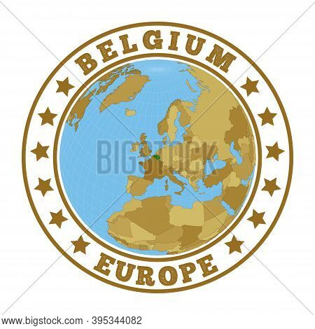 Belgium Logo. Round Badge Of Country With Map Of Belgium In World Context. Country Sticker Stamp Wit