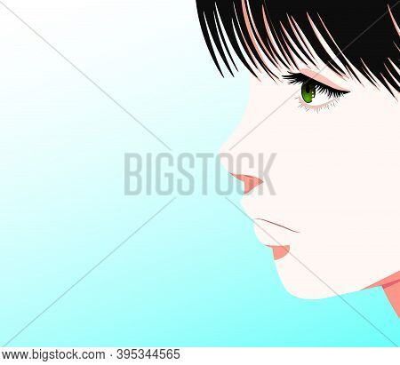 Vector Anime Characters. Anime Girl In Japanese. Anime Style, Drawn Vector Illustration. Eps 10. Vec