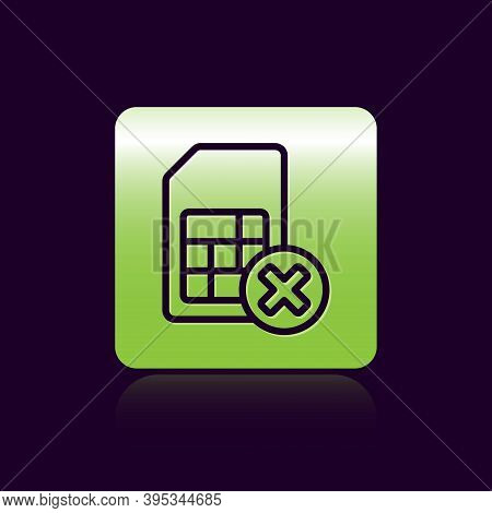 Black Line Sim Card Rejected Icon Isolated On Black Background. Mobile Cellular Phone Sim Card Chip.