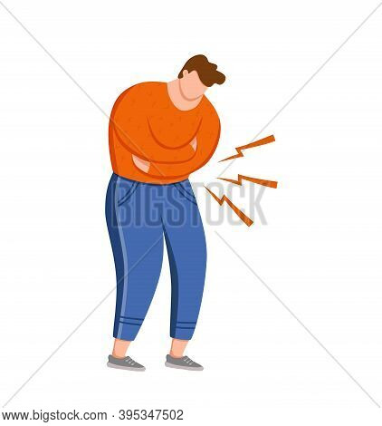 Man Suffering Of Stomach Pain Vector Illustration. Guy Feel Stomach Ache Chronic Gastritis Pressing