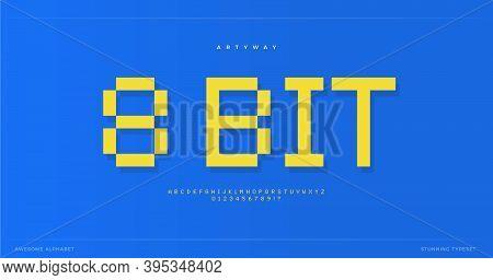 Pixel Alphabet. Retro 8-bit Font, Type For Retro Video Game Score, Digital Logo, Pixelated Lettering