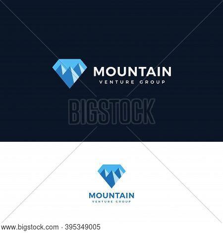 Mountain Icon.diamond Shape With Mountain Logo Concept For Venture Group, Finance Advisor, Adventure